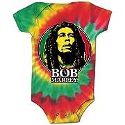 Bob Marley Logo Circle Tye Dye Infant Baby Romper T-Shirt