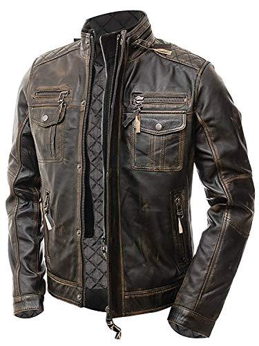 Streamline choice Mens Motorcycle Biker Slim Fit Vintage Distressed Cafe Racer Real Leather Jacket - X-Large - Brown
