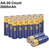 JMEXSUSS 20 Pack 2600mAh High-Capacity Alkaline AA Batteries (20 Count, AA, 2600mAh)