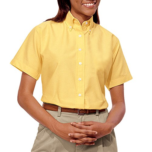 - Blue Generation BG6214S - Ladies' Short Sleeve Oxford with Stain Release (2XL, Maize)