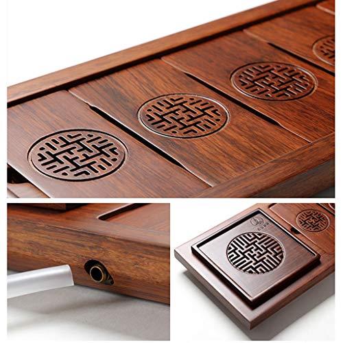 Tea Tray Tea Table Solid Wood Heavy Bamboo Tray Home Living Room Drainage Tea Table Whole Tea Set (Color : 45454.5CM) by GQQ (Image #2)