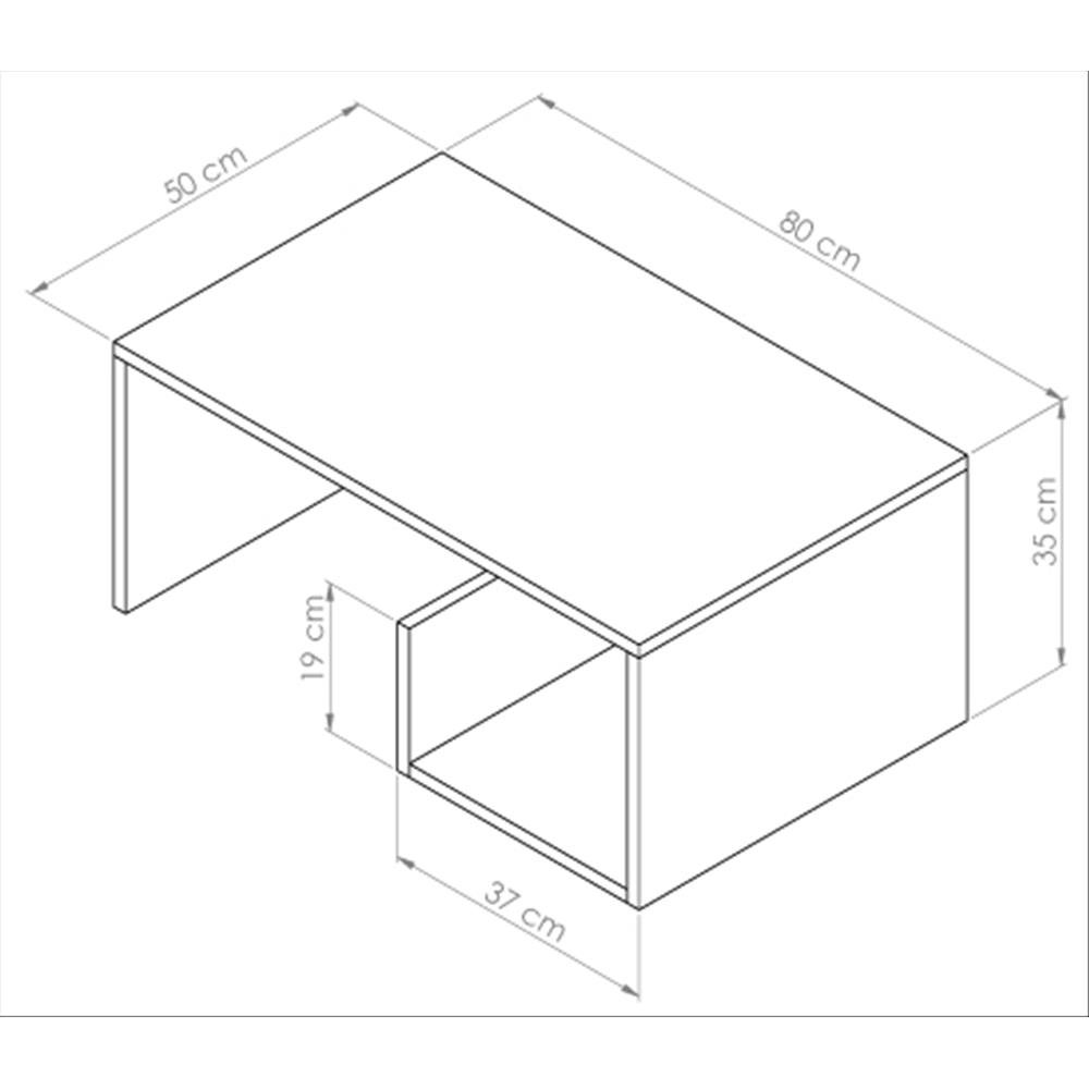 80 x 50 x 35 cm fr/êne Blanc Mobili Fiver M/élamin/é Table Basse de Salon Snake