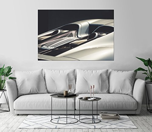 Porsche 918 Silver Close Up Car Art Print Wall Decor Self-Adhesive - Wallpaper Sticker 36 x 54 - XL (1521 Printers)