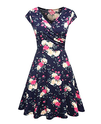 ROOSEY Women's Casual Cap Sleeve V Neck Fit and Flare A Line Dress with Pockets,Large,Pattern (Two Pocket Cap)