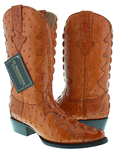 Ostrich Leather Cowboy Boots - 9