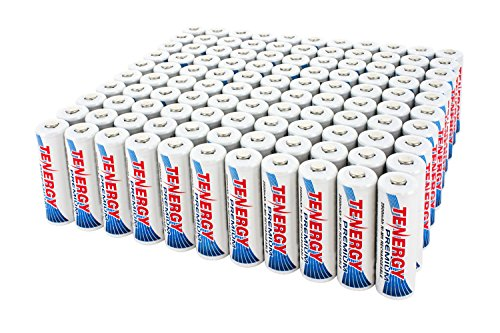 100pcs Tenergy Premium AA 2500mAh High Capacity NiMH Rechargeable Batteries by Tenergy