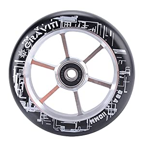 GRAVITI One Pair 110mm Pro Stunt Scooter Wheels with ABEC-9 Bearings CNC Metal Core (2pcs) (silver)