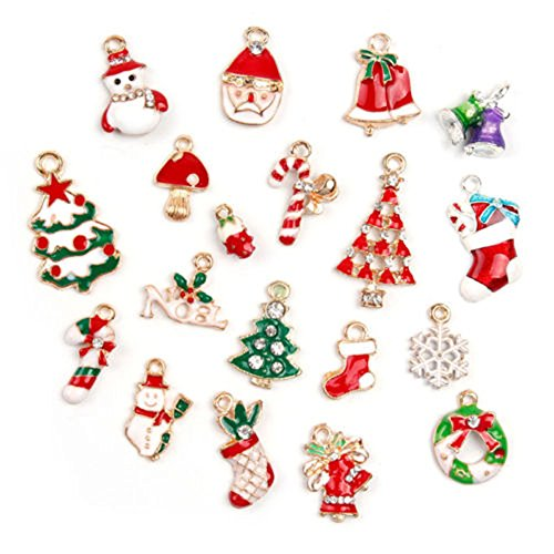 ORYOUGO Wholesale 19pcs Christmas Tree Snowman Snowflake Deer Bell Charm Enamel Gold Toned Pendants DIY for Jewelry Making and Crafting,Type B(with 5Pcs Necklace Making Cord) ()