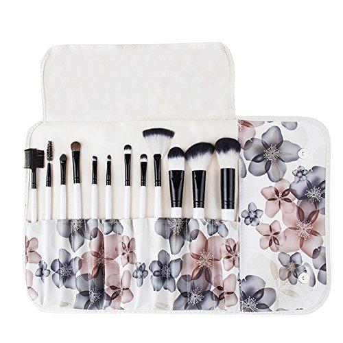 Unimeix Professional 12 pinceaux de maquillage maquillage de Pcs Set Kits avec Case de motif fleur (fleur noire)