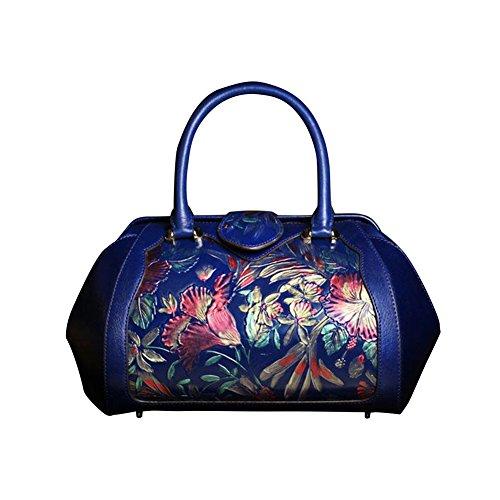 Leathario bolso de cuero de primera capa de la clase superior para damas, diseño elegante, estilo oriental azul