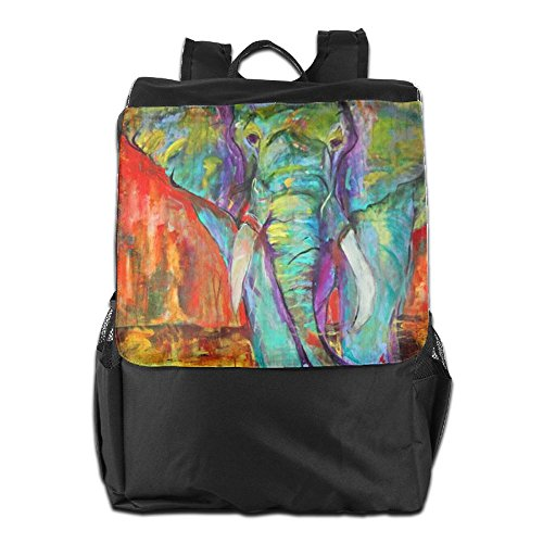 HSVCUY Personalized Outdoors Backpack,Travel/Camping/School-Oil Painting Good Lucky Elephant Adjustable Shoulder Strap Storage Dayback For Women And Men