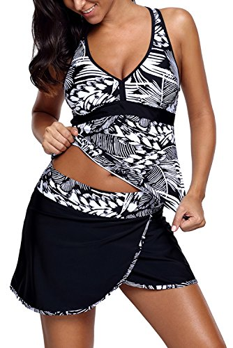 Piece 2 Tankini Skirted (Uniarmoire Womens Two Piece Swimsuit V-Neck Halter Tankini Skirted Swimwear Black L)
