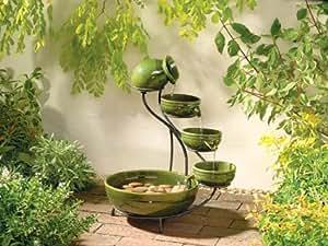 Green Ceramic Cascade Solar Fountain