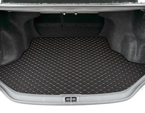 Motor Trend PM801 Black Leatherette Trunk Mat Cargo Liner Custom Exact Fit - Luxury Padded PU Leather - for Toyota Camry 2015-2016 (Toyota Trunk Camry)