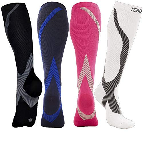 Mid Calf Muscle Leg Support - Long Sleeve 20-30 mmHg - Travel Gym Athletic Running Crossfit Football Basketball Teds Post Partum - Thigh Opaque Knee High Stockings Compression Socks for Men & Women