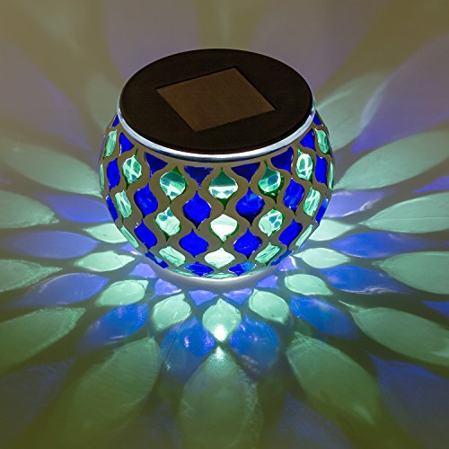 - Solar Mosaic Glass LED Decorative Table Light (Blue and Green)