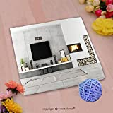 VROSELV Custom Cotton Microfiber Ultra Soft Hand Towel-Contemporary lounge with fireplace_ Custom pattern of household products(20''x20'')