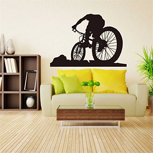 BIBITIME Bicycling Wall Art Decal Cycling Bicycle Silhouette Vinyl Sticker for Kids Boys Girls Room Bedroom Sport Home Decor Mural