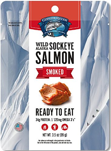3-Pack, Wild Alaska Smoked Sockeye Salmon - Ready to Eat, No Refrigeration Needed - Made in - Copper Salmon River