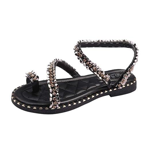 Mujer Damas Moda Cristal Bling Punta Redonda Plana Mocasines Casuales Sandalias Zapatos LILICAT ✈✈ 2019 Lentejuelas de Fondo Plano Rhinestone Zapatos de ...