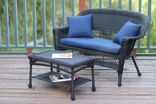 Jeco Wicker Patio Love Seat and Coffee Table Set with Blue Cushion, Black