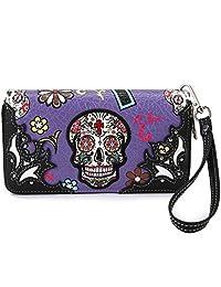 Western Handbag and Western Shoulder Purse for Women with Sugar Skull/Angel Wings