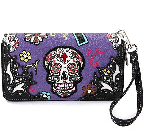 La Dearchuu Sugar Skull Western Wristle Wallets Cross Clutch Wallet Purse with Phone Holder for Women