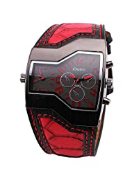 OULM Men Leisure Casual Vogue Fashion Alien Design Wristwatch Red Leather Strap Red 2 Dial Time Display Japan Quartz + Gift Box