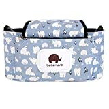 Stroller Organizer Baby Buggy Pram Bag Diaper Storage Organizer Multifunction Stroller Bag with Cup Holder Large Capacity fit for Universal Stroller accessories by AENMIL(White Bear)