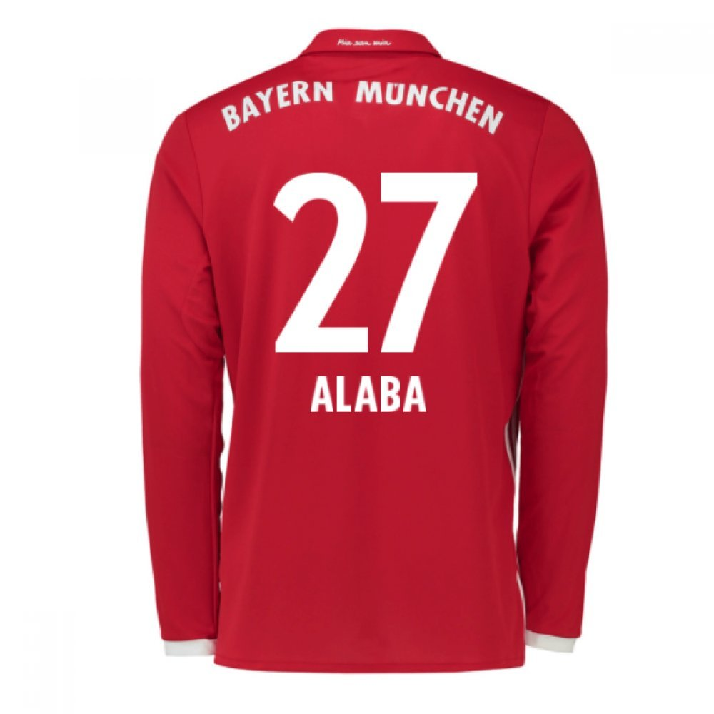 2016-17 Bayern Munich Long Sleeve Home Football Soccer T-Shirt Trikot (David Alaba 27) - Kids