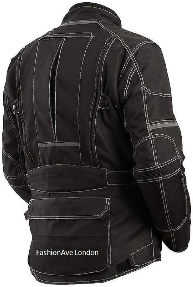 FashionAve London Mens Black Protection Padded Leather Motorcycle Jacket