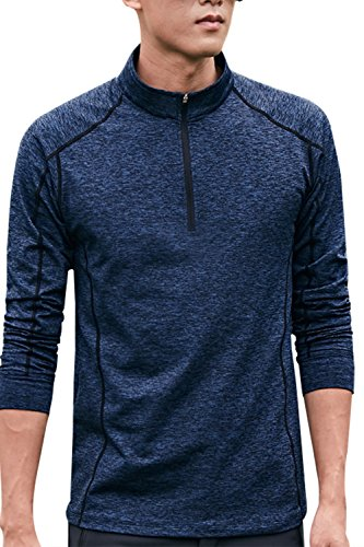 - SENSERISE Mens Plus Size 1/4 Zip Pullover Long Sleeve Dry Fit Fleece Lining Top(Navy Blue,3XL)