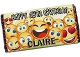 Personalised Emoji Happy Birthday 114g Milk Chocolate Bar ~ 10th 13th 16th 18th 21st 30th 40th Birthday Gift Present Idea Girls Boys Him Her N104 - Any Age