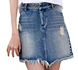 SportsX Women Boyfriend Ripped Hole Rugged Wear Brushed Jean Skirts Blue S