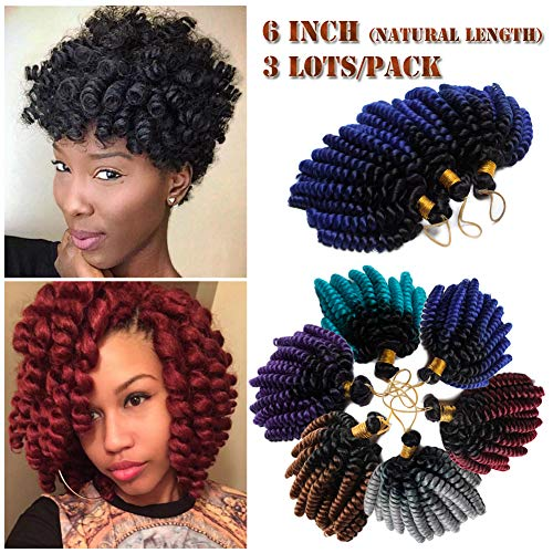 6 Inch Wand Curl Crochet Twist Braids 20 Roots Jamaican Toni Bounce Curly Braiding Hair for African American Black Women 3Lots/pack 180g-Black to Dark Blue