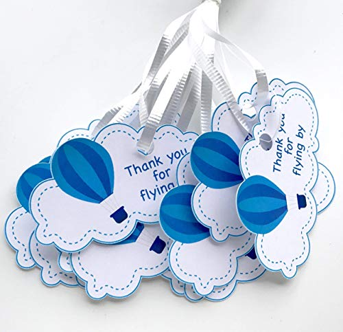 Blue Hot Air Balloon Thank You Tags 12 pcs, Up Away Favors Birthday Decoration Party Supplies, Cloud Boy Baby Shower Themed Celebration