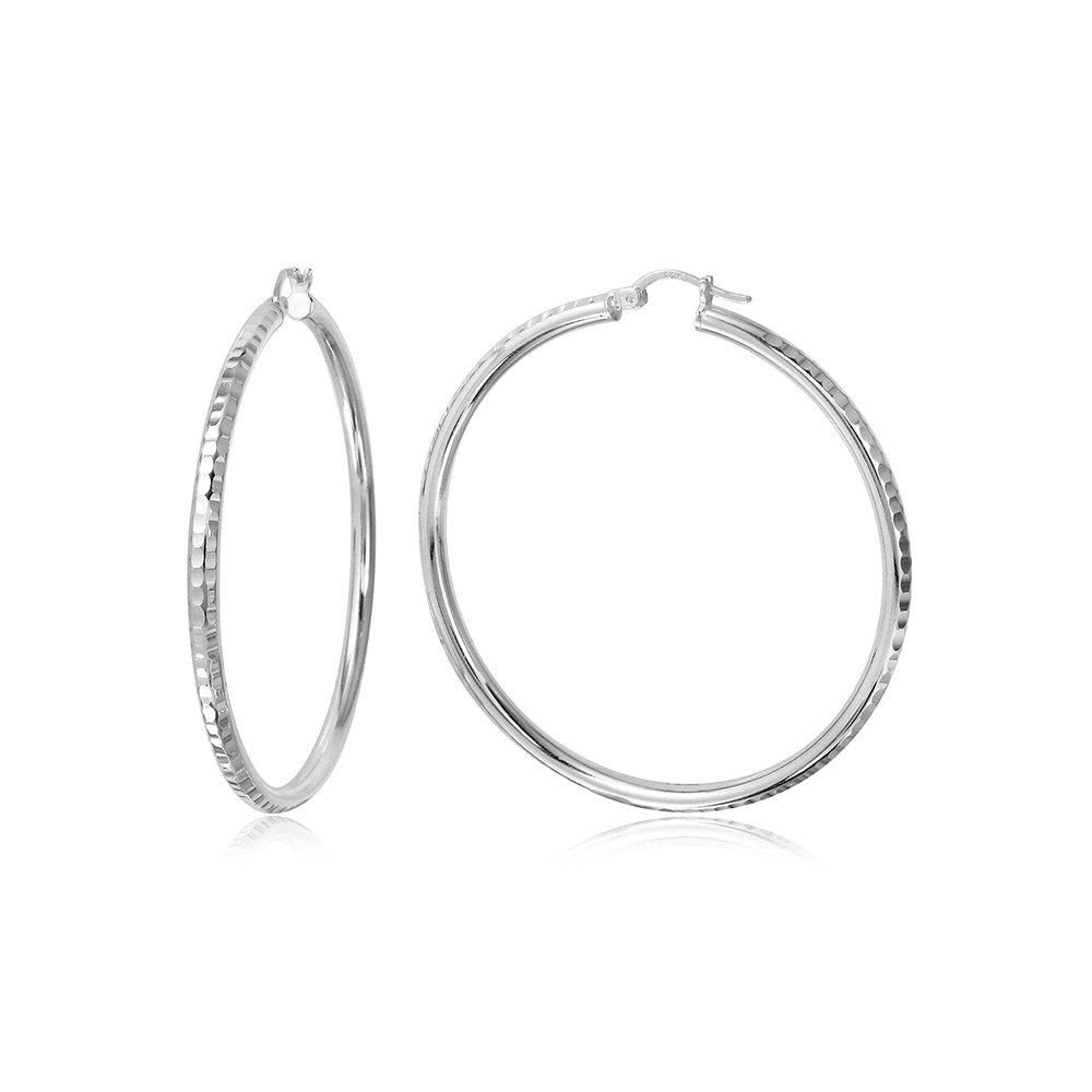 Sterling Silver Diamond Cut Design Hoop 2mm Earrings Size 25