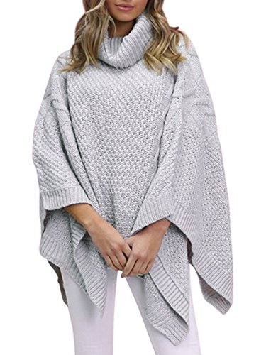 BerryGo Women's Chic Turtleneck Batwing Sleeve Asymmetric Knitted Poncho Pullovers Sweater Gray,One Size