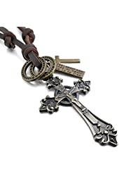 Men's Alloy Genuine Leather Pendant Necklace Gold Tone Jesus Christ Crucifix Celtic Cross Adjustable 16~26 Inch Chain