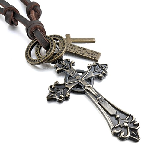 INBLUE Mens Alloy Genuine Leather Pendant Necklace Jesus Christ Cross Adjustable