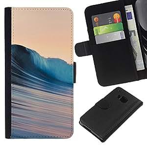 YiPhone /// Tirón de la caja Cartera de cuero con ranuras para tarjetas - Ondas sedosas - HTC One M7