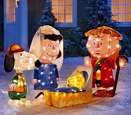 amazoncom christmas 4 pc peanuts gang gel light 3d christmas pageant nativity scene garden outdoor