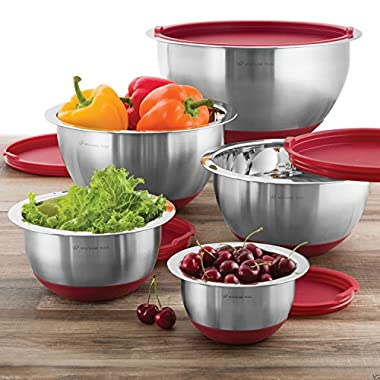 Wolfgang Puck 10 PC Stainless Steel Mixing Bowl Set (Red)