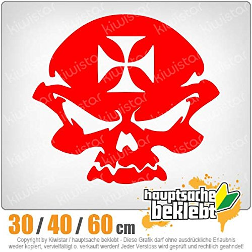 Skull in iron cross 3 tailles autocollant pour lunette arrière carsticker decal