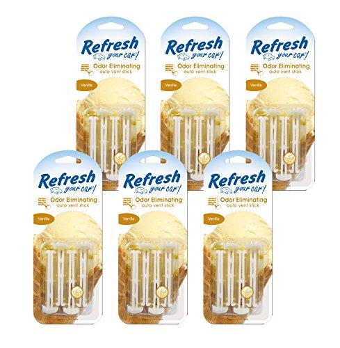 Refresh Your Car! 86589 Vanilla Auto Vent Stick, 6 Pack, (4 Per Pack)