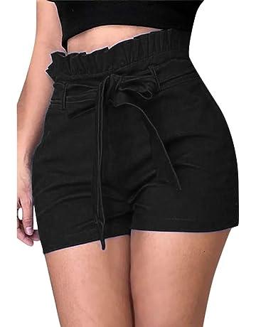 beautyjourney Shorts de Talla Grande para Mujer Pantalones Cortos de Cintura Alta de Verano Shorts Delgados