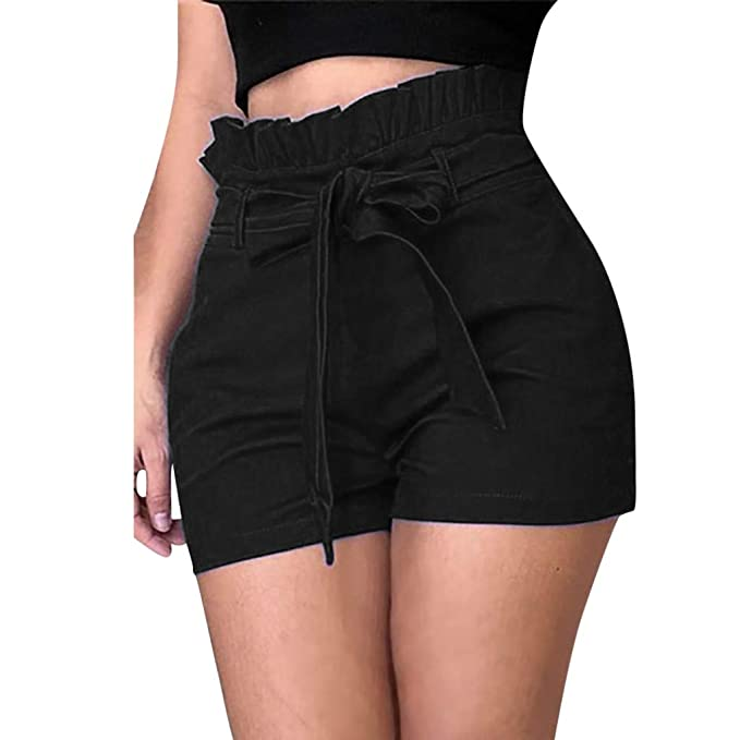 Women Shorts, Summer Elastic High Waist Self Tie Plus Size Sport Casual  Shorts Pants with Pockets Belt