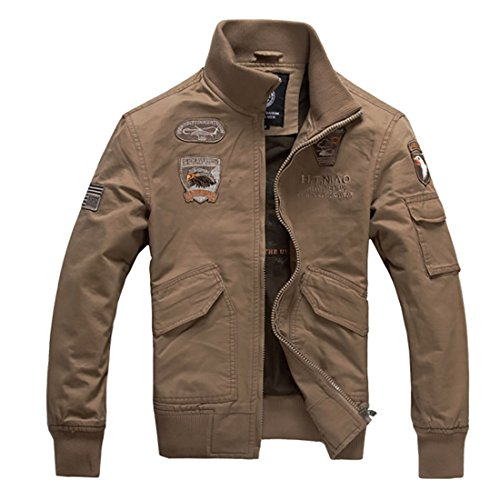 DUBUK Men Military Jacket Casual Windbreaker Stand Collar Air Force Jackets with Embroidered Pattern Field Coat Outerwear (Khaki,L)