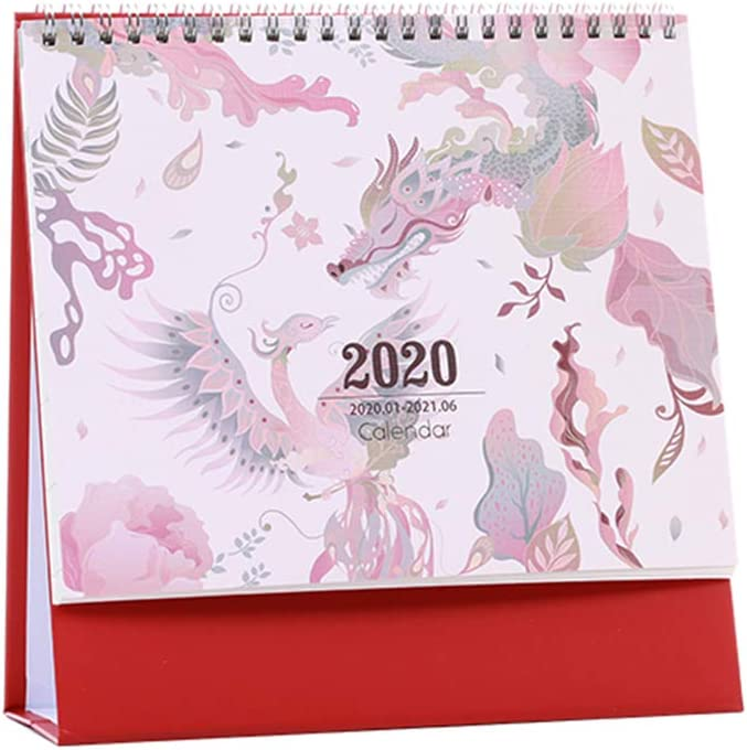 Desk Calendar January 2020 to June 2021 Free-Standing Monthly Planner Office Calendar Table Pad(Style A)