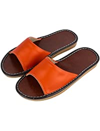 Women's Summer Open Toe Slippers PU Leather Flat House Indoor Sandals